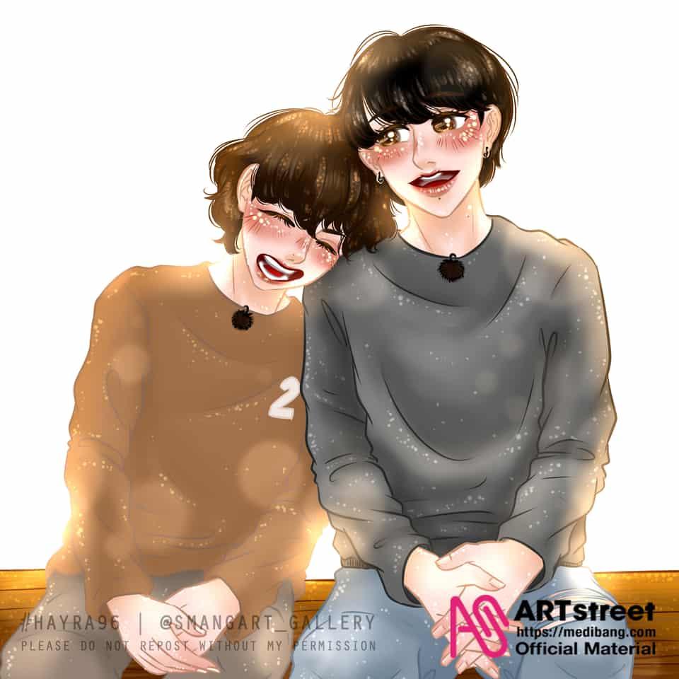 Little VKOOK sweetness moment Army? Illust of Hayra96 tracedrawing3rd pixelart Trace&Draw【Official】 art smangartgallery Vkook Jungkook BTS hayra96 Taehyung