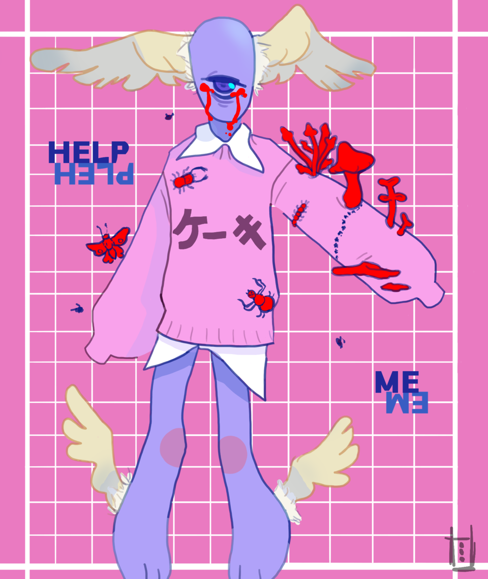 Infected HELP ME Illust of *Neon_Punk* art Infected aaaaa Artwork sad wings sketch 13 eyes oc
