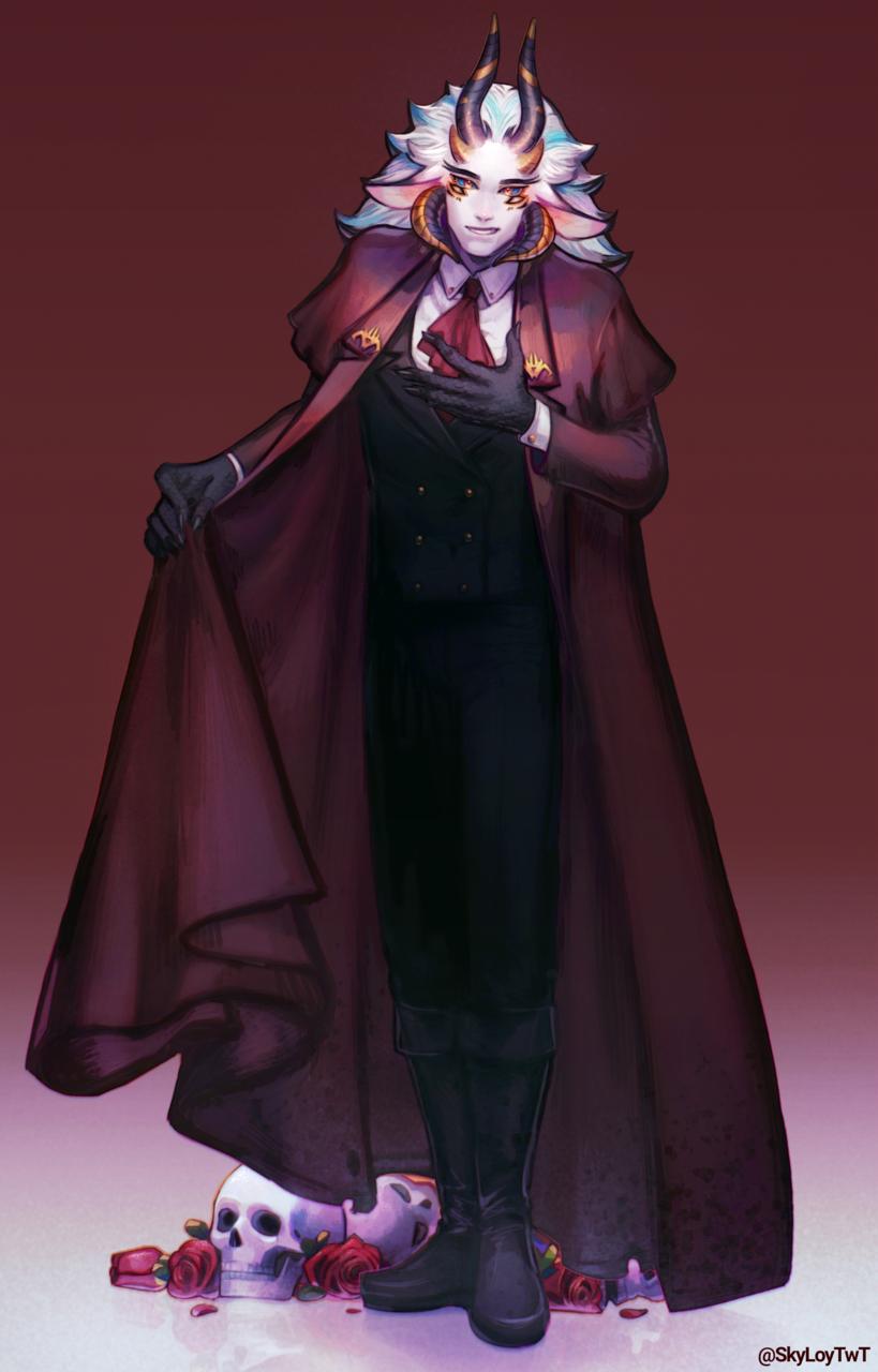 Demon Semi Sketch  Illust of SkyLoy fantasy horn demon suit guy digital skull smile scketch