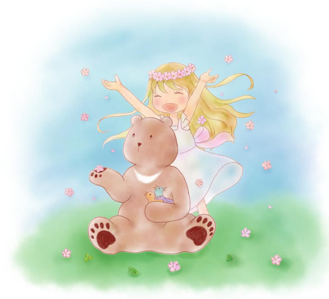 フラワーシャワー Illust of chiwo April2021_Flower watercolor ほのぼの とり くま oc girl イラスト好きな人と繋がりたい はな pastel