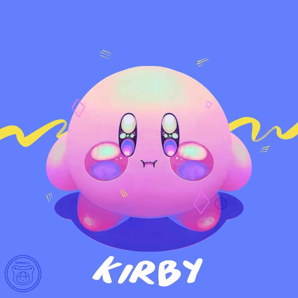 Kirby 💙💛 Illust of Gummy.yy cute blue Kirby illustrations illustration dreamy