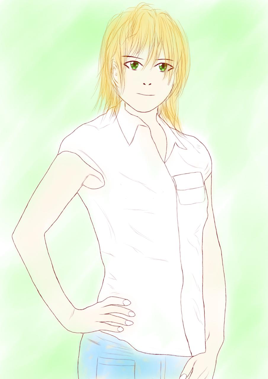 Illust of 綾崎暁都 character girl ボーイッシュ original illustration green blonde