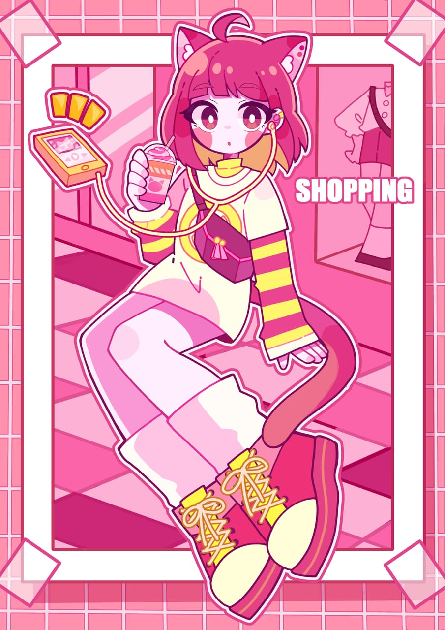 Illust of ぴたんと cat_ears girl original illustration スニーカー