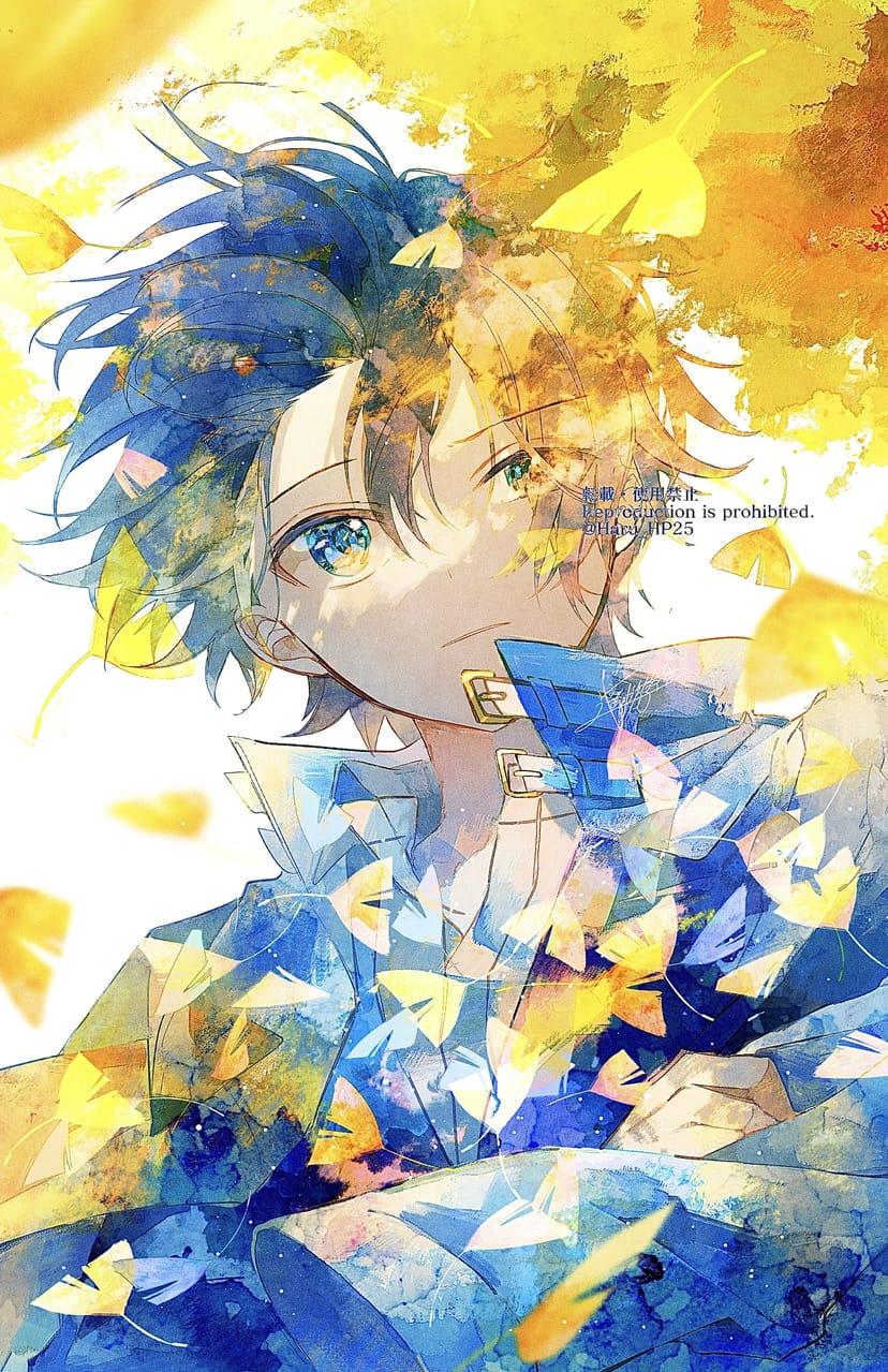 衣替え Illust of 遥川遊 illustration オリジナル創作 blue autumn yellow original watercolor 創作男子 oc boy