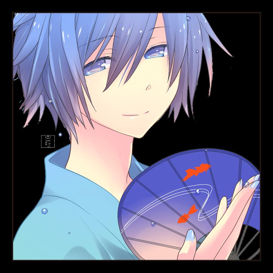 浴衣 Illust of 白継 KAITO blue モジュール浴衣 illustration VOCALOID うちわ