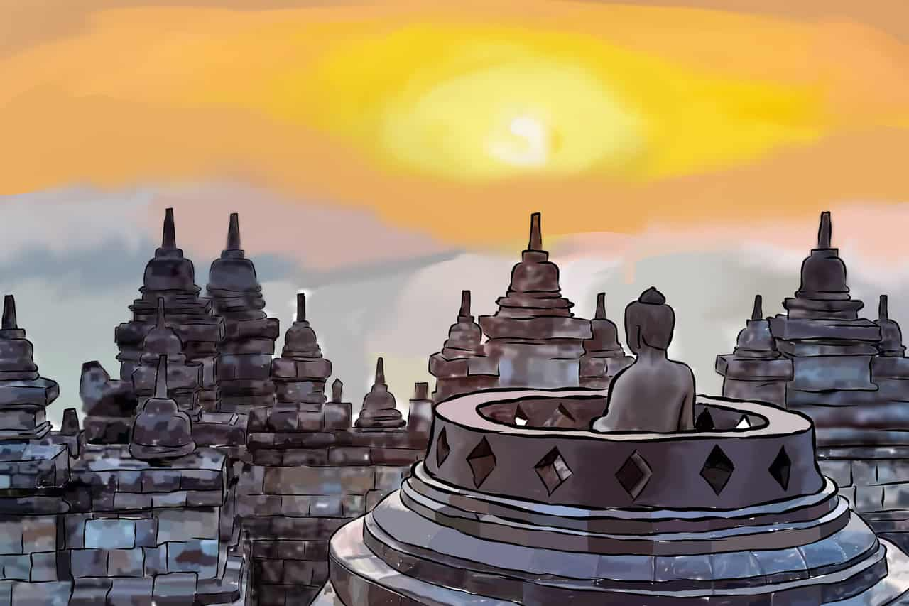 Buildings / Candi Borobudur Indonesia Illust of Sahrul Wage hidayat history brag.your.country medibangpaint building illustration Indonesia contest art God scenery Artwork