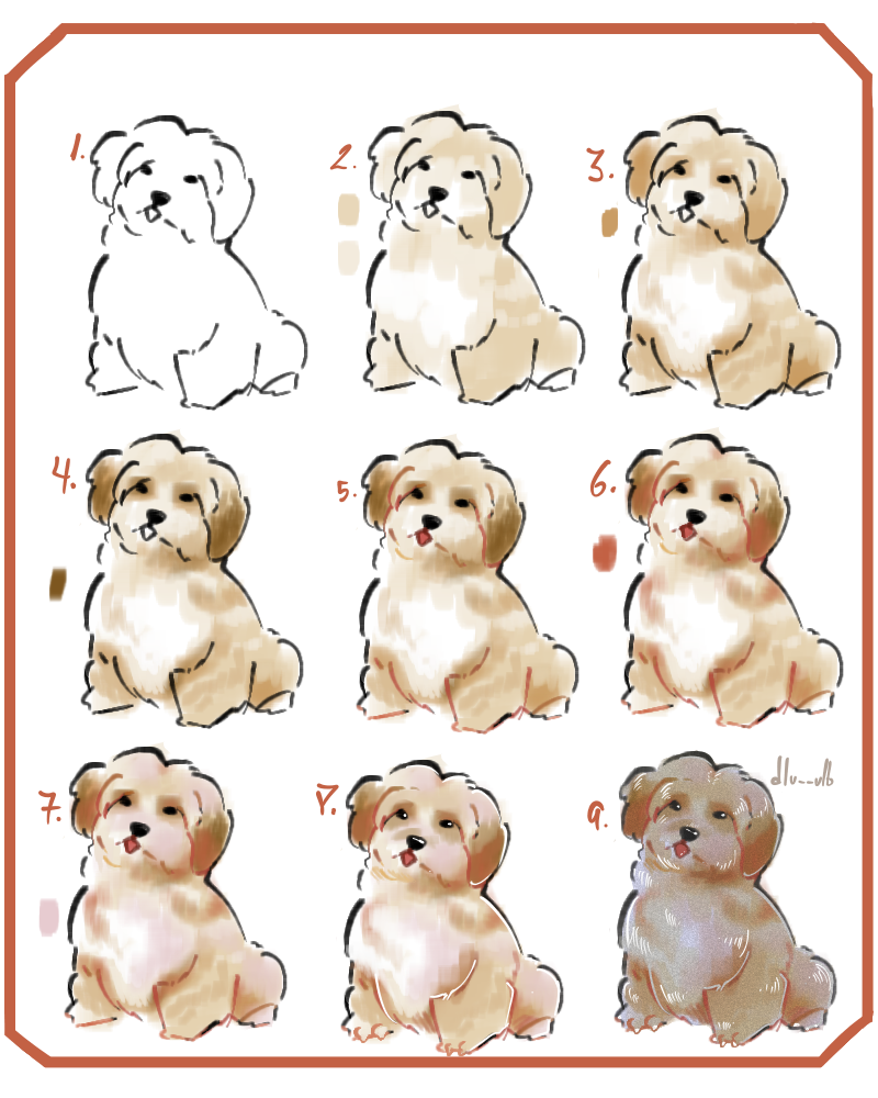 how I draw and color dogs Illust of dlu__ulb medibangpaint cute Howtodraw animal cachorro pet tutorial dogtutorial dog simpletutorial fur