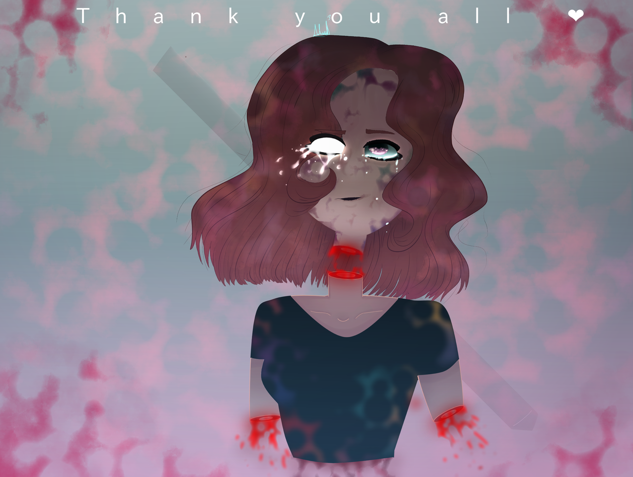 ~Muchísimas gracias mis amores(Thank You All❤️)~ Illust of MirelleGallery✨ medibangpaint art I_love_you girl <3 blood illustration Thanks Special gore