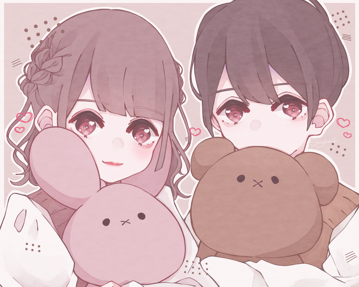 🐰🐻💕 Illust of しろなち illustration girl boy original rabbit くま medibangpaint