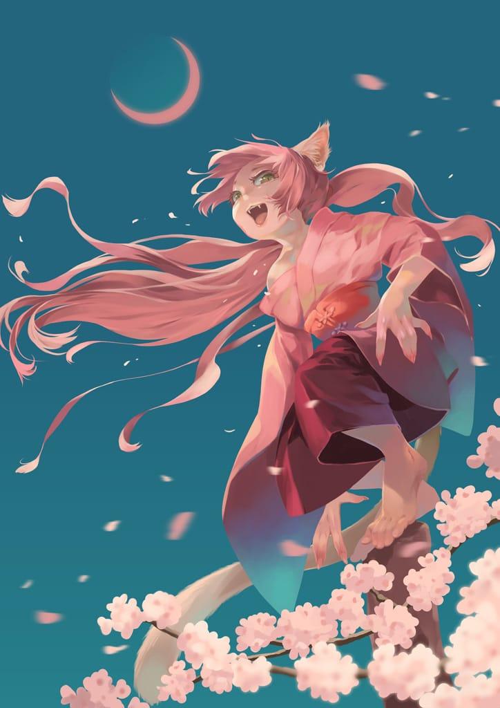 桜の怪 Illust of 砂虫隼 March2021_Creature cat youkai monster 春 girl 獣人 pinkhair original sakura