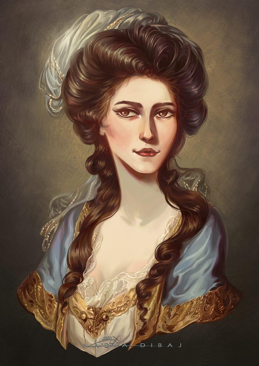 portrait of a lady Illust of nadiadibaj MasterpieceFanart digitaldrawing illustration classic Artwork design anime digitalpaint age golden
