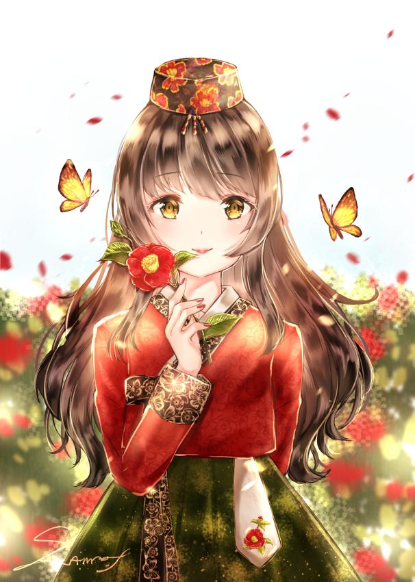 花と蝶-山茶花