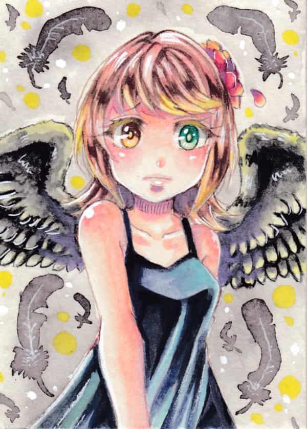 黒い羽根 Illust of ひらい祐夢 羽根 girl original