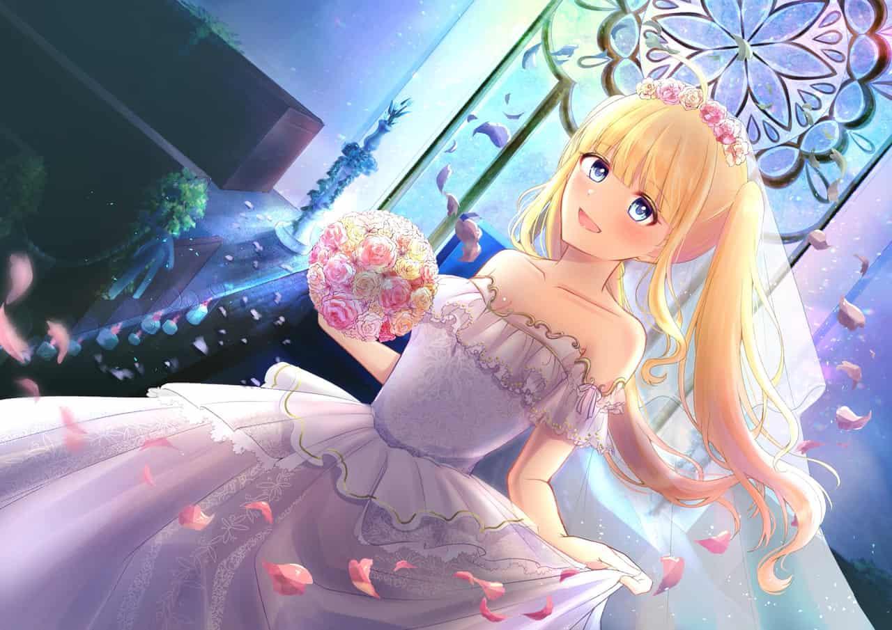 似合ってる……かな…? Illust of じゅにねう blue twin_ponytails 金髪碧眼 ウェディングドレス girl ジューンブライド original