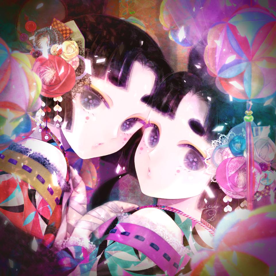 寧寧と莉莉 Illust of 千葉めぐむ girl Japanese_style original kimono oc