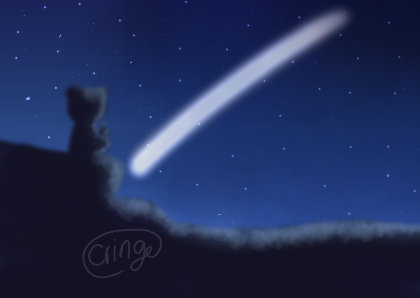 🐻🥤🌠 Illust of Cringe Official medibangpaint illustration star animal night smile art blue background bear