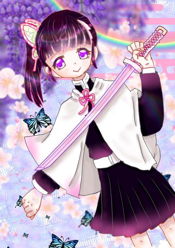 花と蝶 Illust of 冬路くじら DemonSlayerFanartContest pink girl KimetsunoYaiba purple medibangpaint illustration TsuyuriKanao flower kawaii