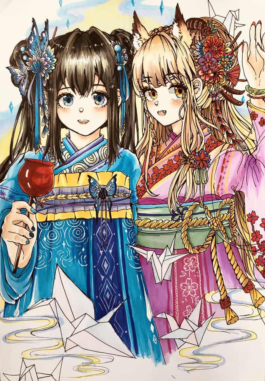 《夏日奇遇》 Illust of Yuefei Ma MyIdealWaifu_MyIdealHusbandoContest MyIdealWaifu Kyoto_Award2020_illustration illustration Comics 比赛 kimono