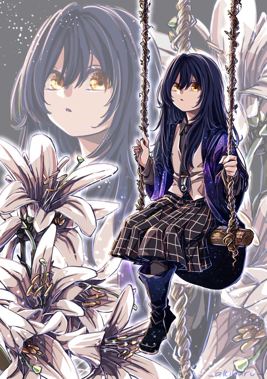 Mischa [Lis Desjardins] Illust of AkiHaru MediBangPaintPro illustration Lily originalcharacters oc medibangpaint blackhair flower