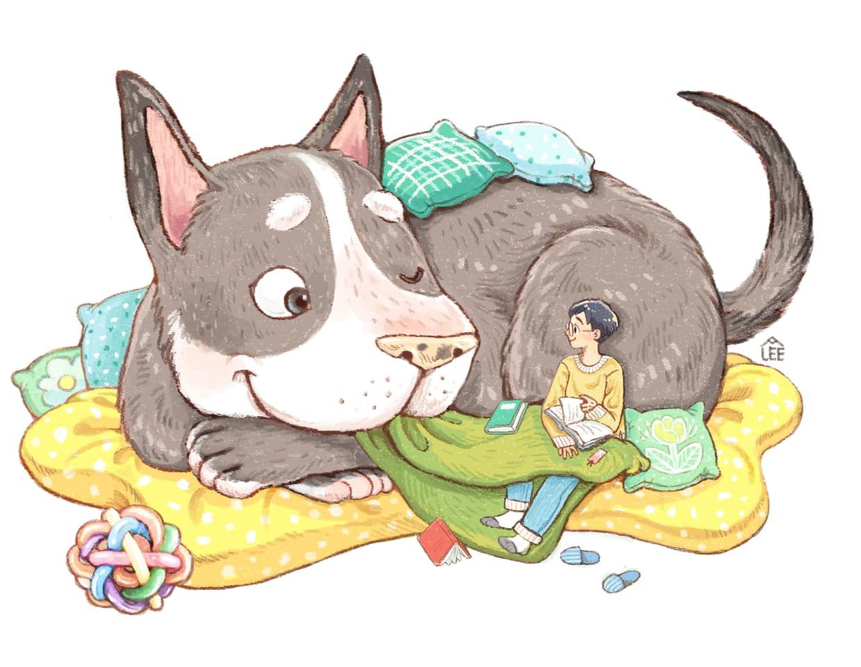 主人和狗 Illust of Charmaine Lee 主人公 1hDrawingChallenge animal illustrations love illustration dog pet life cute