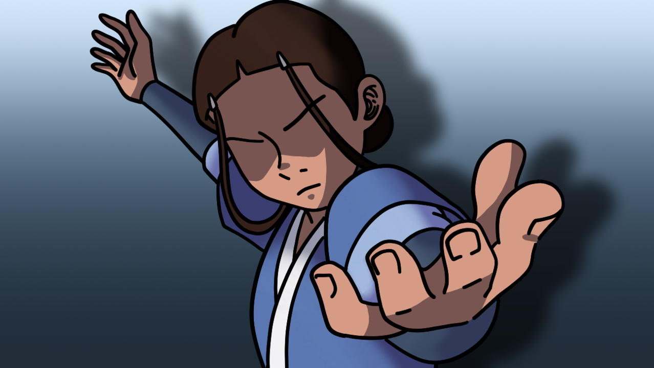 Toph and Katara Illust of Mikey-kun 2.0 Avatar A:TLA fanart waterbender tophbeifong toph illustration Earthbender Katara Fingerpaint