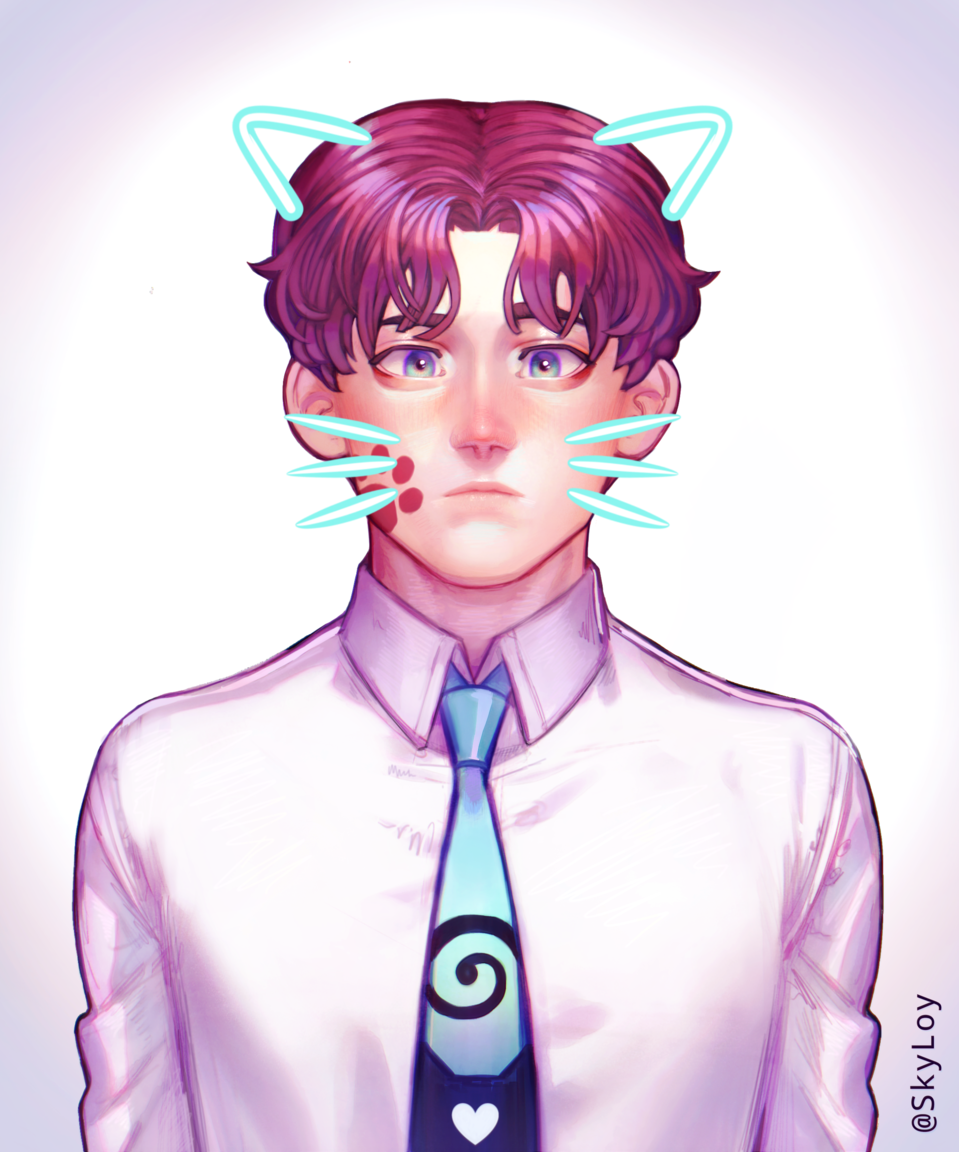 2020 ~ 2017  Illust of SkyLoy medibangpaint blue remake boy cat_ears iPad_raffle eyes