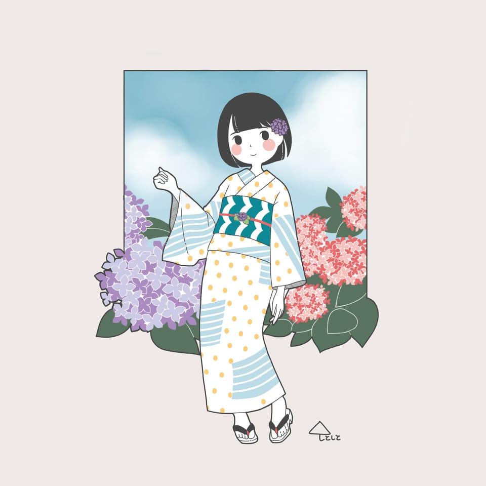 紫陽花 Illust of しとしと hydrangea レトロ ゆるいイラスト ゆる絵 ゆるい レトロガール