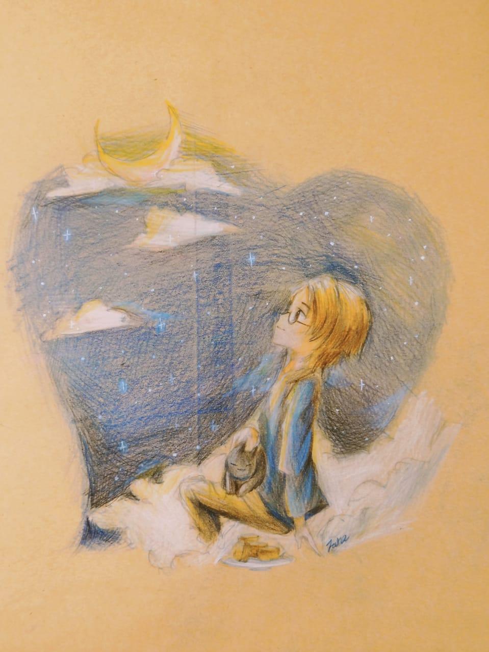 夜空下 Illust of janejane 黑貓 夜景 moon