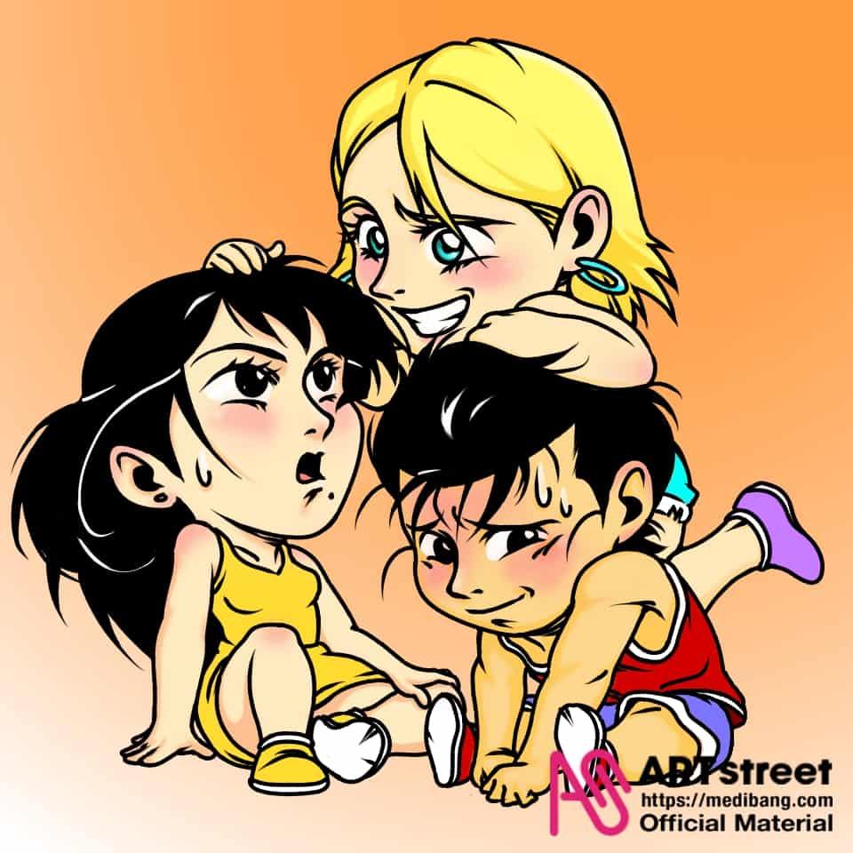 Having fun Illust of fjgonzalezdelab tracedrawing Trace&Draw【Official】 cute illustration friendship love chibi oc