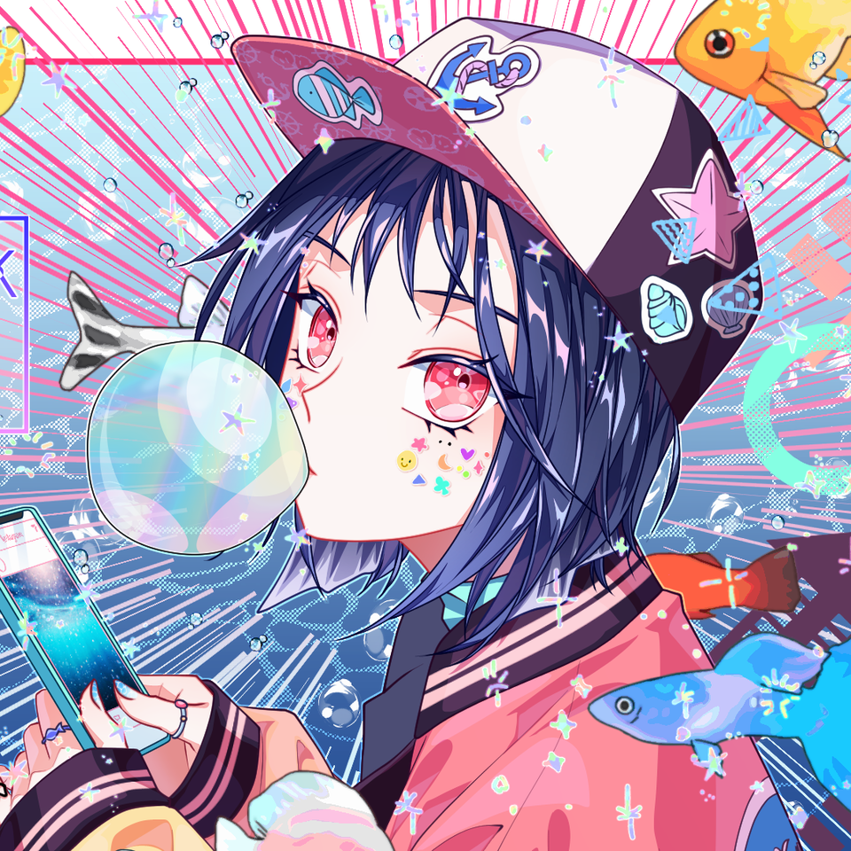 Bubble gum  Illust of 십삼 oc girl 단발머리 풍선껌 illustration 물고기 water