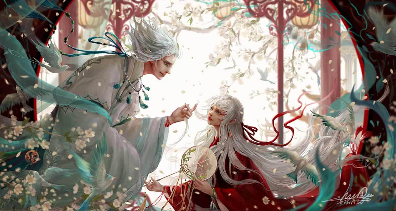 《鸟灵》 Illust of 朱儿 April.2020Contest:Color white_hair 前世与今生 东方玄幻 汉服 鸟灵与女巫