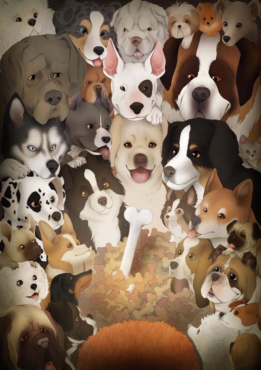 Bon appétit! Illust of Eléa Berdat DOGvsCAT_DOG dog 集合絵