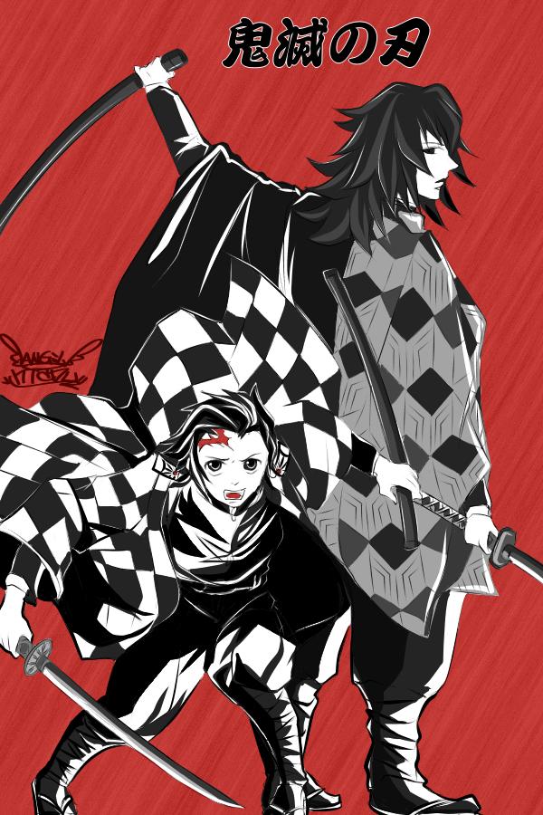 鬼滅の刃♪ 義勇kun&炭治郎kun♪(giyuu&tanjirou♪) Illust of Manu portrait red カラー KamadoTanjirou handsome boy 義勇 KimetsunoYaiba monochrome
