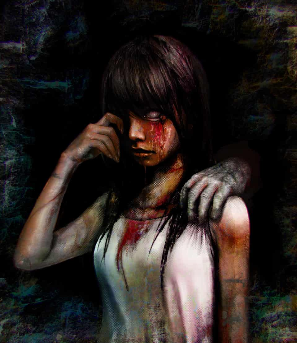 White eyes Illust of U-K horror August2020_Contest:Horror art eyes girl blood red dark illustration black white