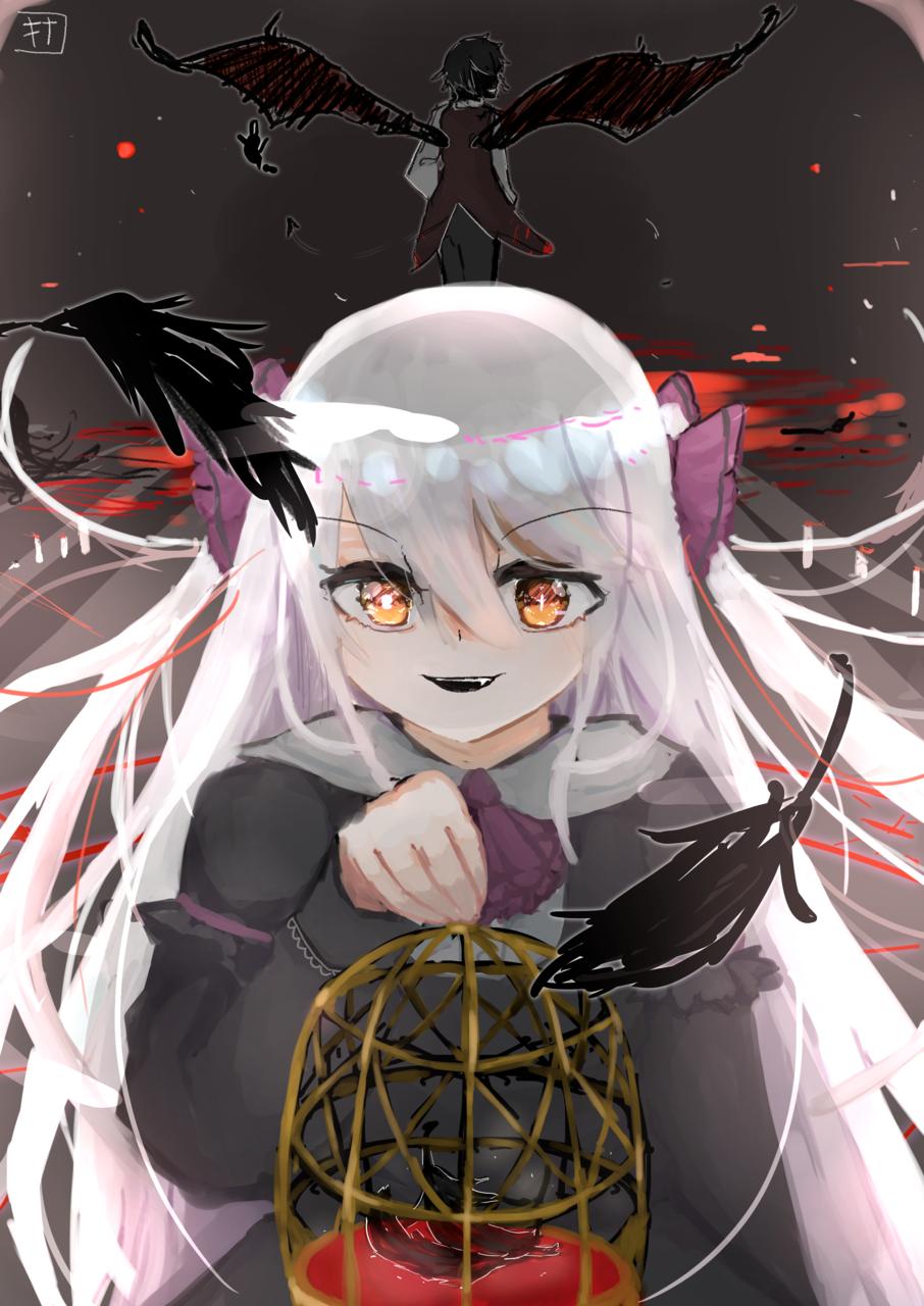 鳥籠を開けて Illust of きなこ豆腐@お味噌汁崇拝 villain illustration demon white_hair oc girl 鳥籠