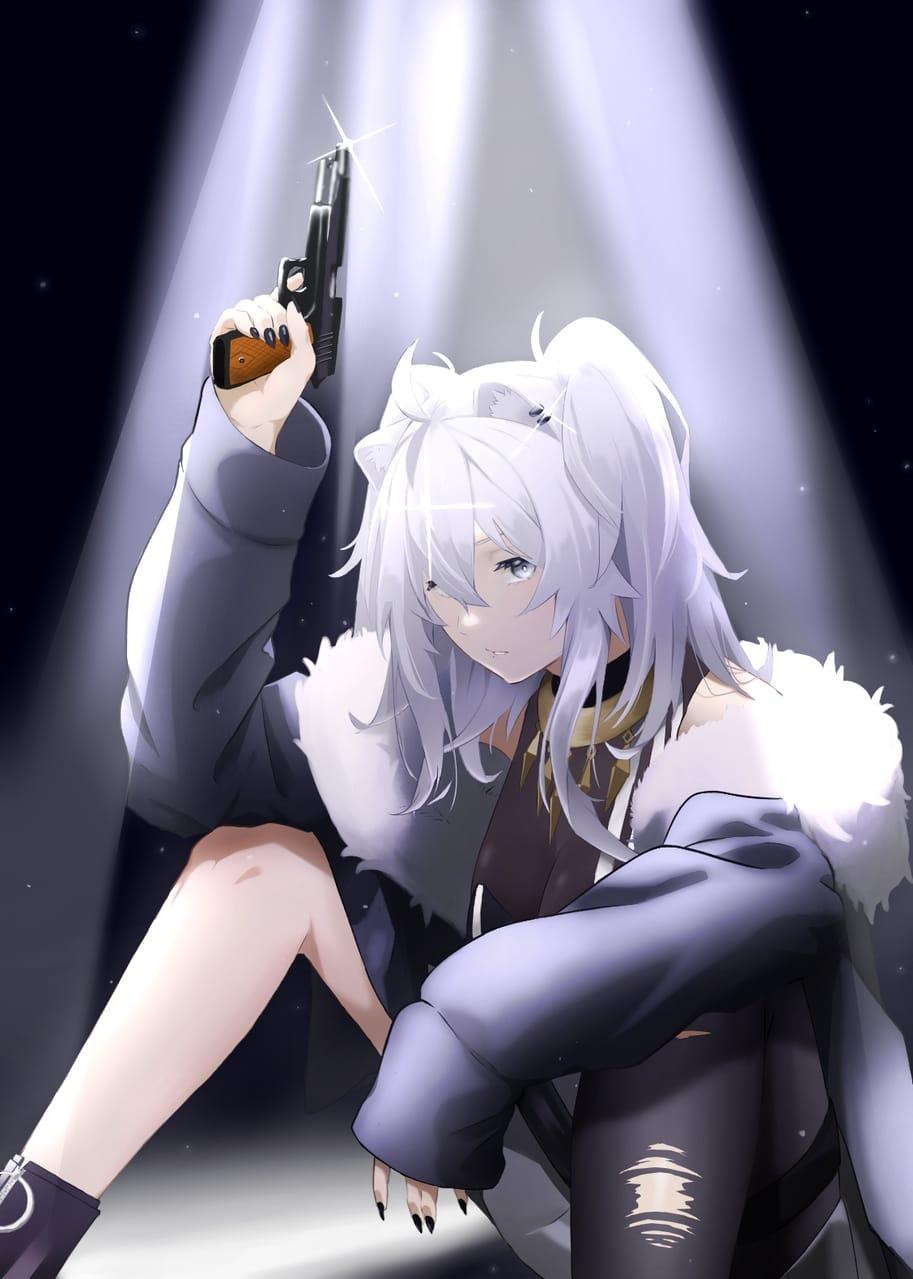 No ammo Illust of Akki hololive girl 獅白ぼたん virtual_YouTuber