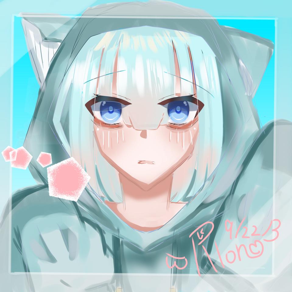 (=^・・^=) Illust of 夜桜涼音 春 cat medibangpaint 水色 girl りおんのぱれっと hoodie