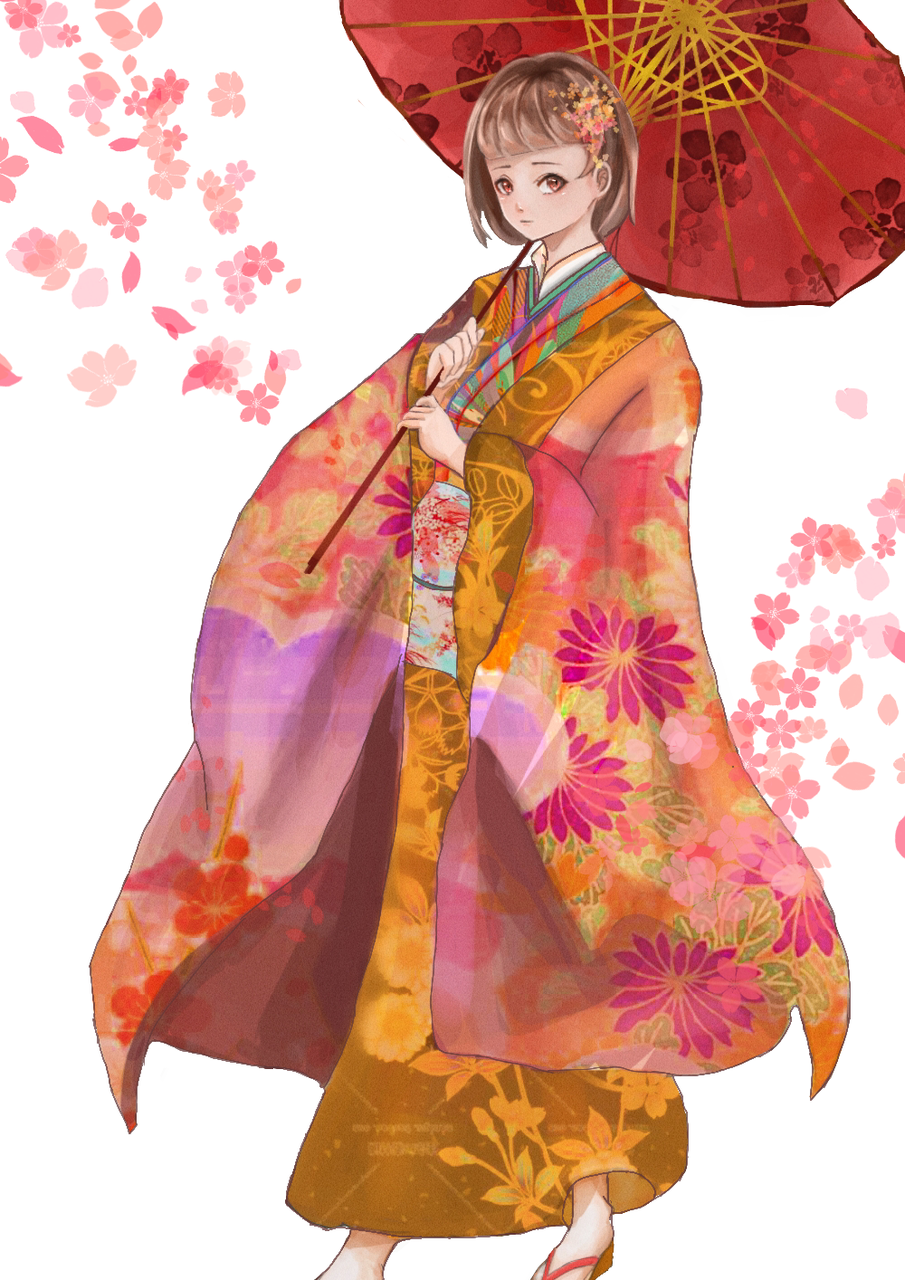 背景改白的好像變乾淨了? Illust of 肆意 medibangpaint sakura Japanese_style 番傘 kimono 花柄 flower