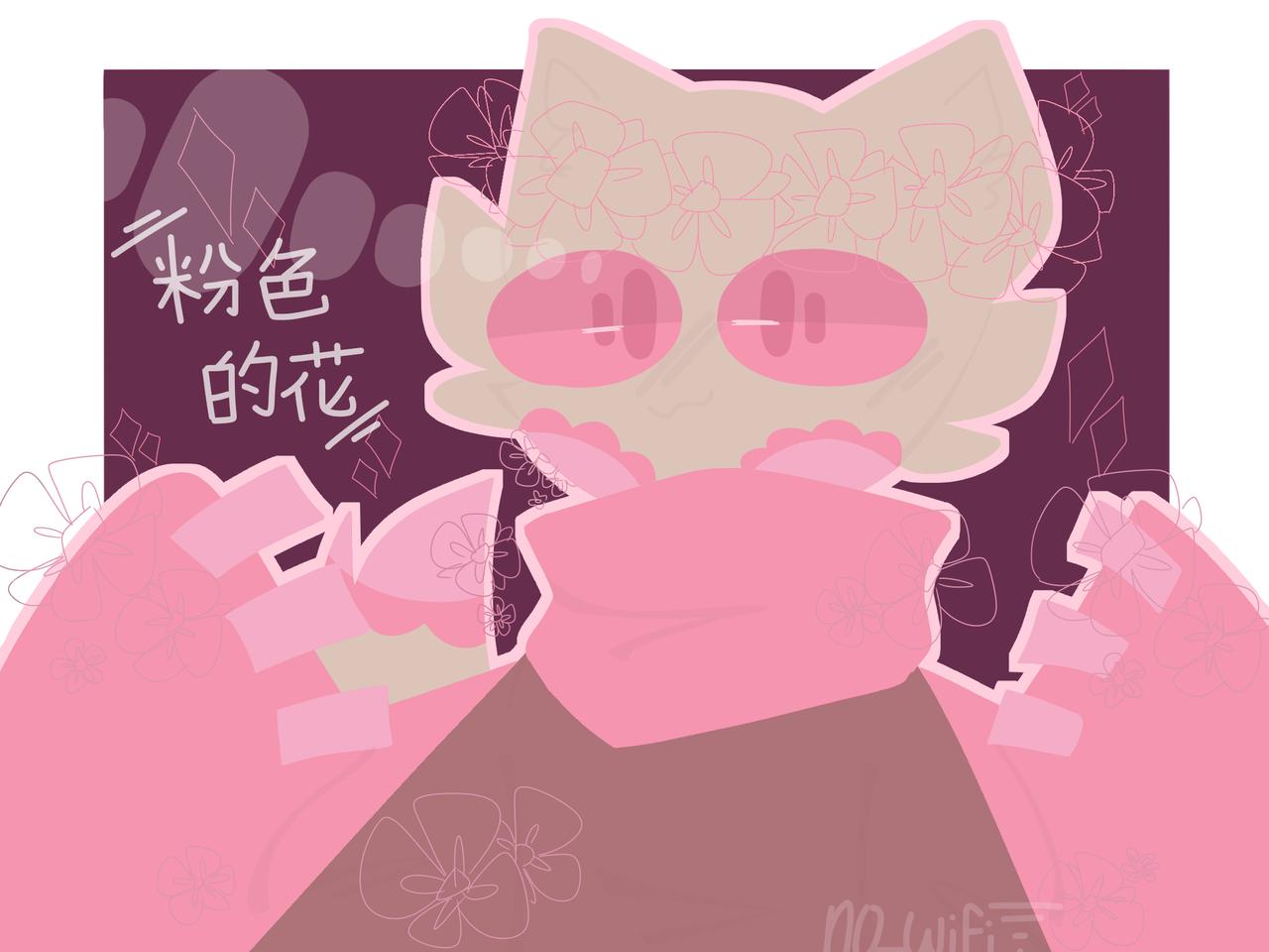 🌸花瓣猫🌸  Illust of RiiRen pink owo medibangpaint aesthetic? flowers chinese