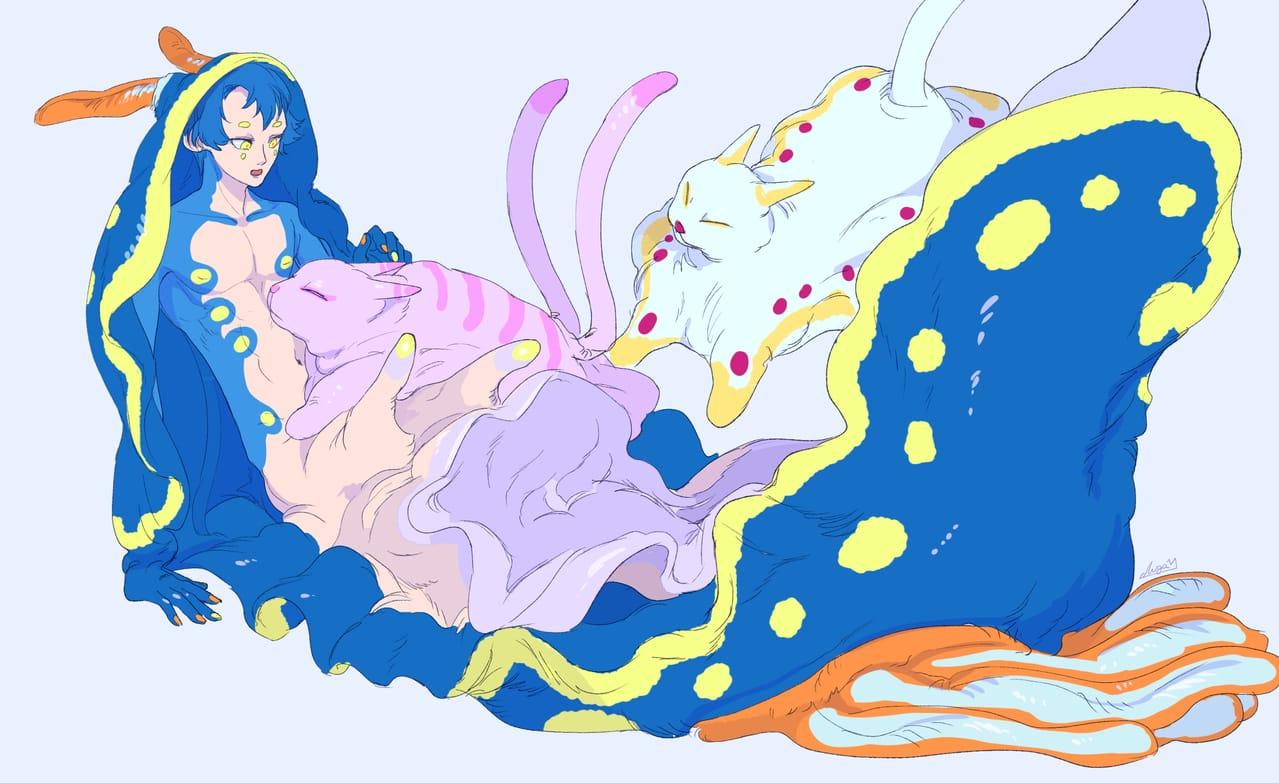 ウミウシくんとウミネコ Illust of チガサキユウ oc original ファンタジーキャラ ウミウシ クリーチャー 創作イラスト