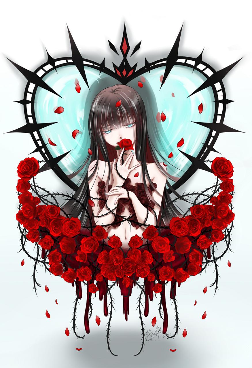 無題 Illust of 詠夜 心 girl 荊棘 flower original 花瓣