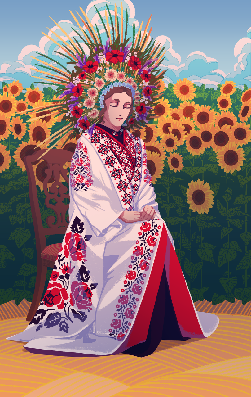 Kimono  Illust of Mr.Sheogorath Kyoto_Award2020_illustration flower kimono sunflower Ukrainian clouds pattern