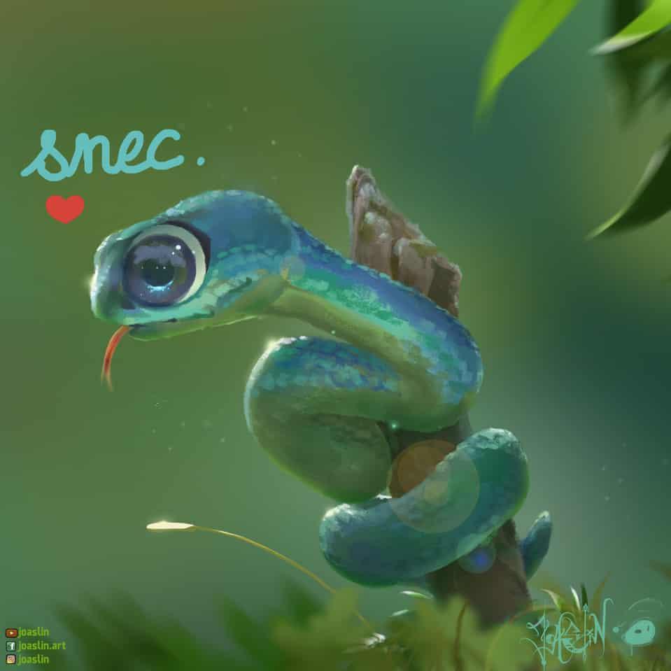Snec.💚 Illust of JoAsLiN art snake painting nature digital original illustration eyes oc cute