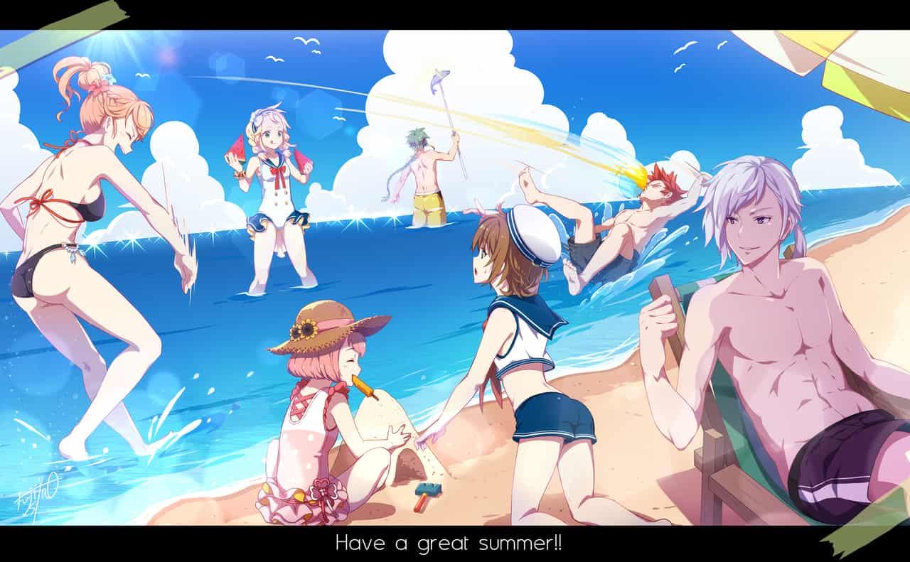 Summer2019 Illust of 藤しゃわ oc summer sea 海水浴 swimsuit