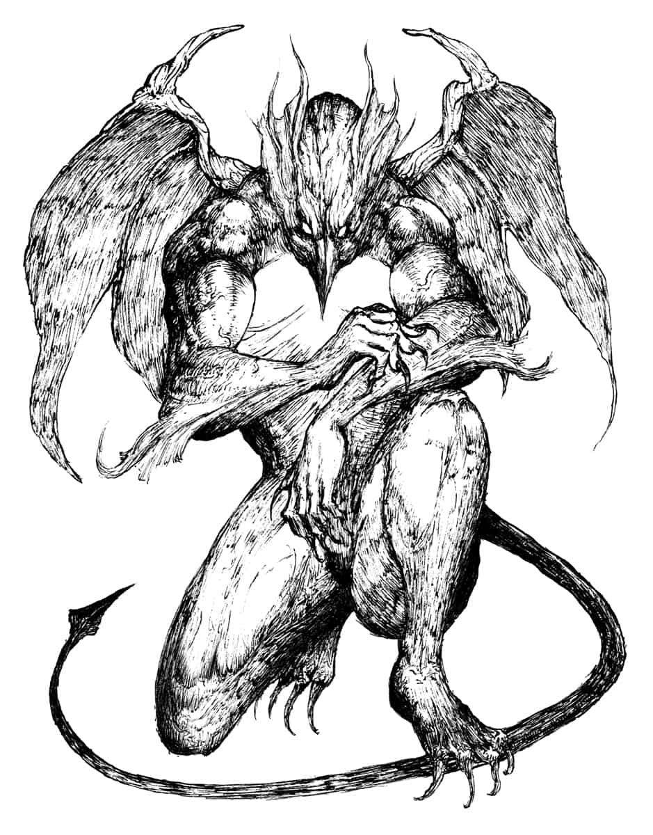 ガーゴイルデビル Illust of 竹林一 fantasy February2021_Fantasy March2021_Creature 怪獣 ペン画 monster original デビル demon ガーゴイル クリーチャー