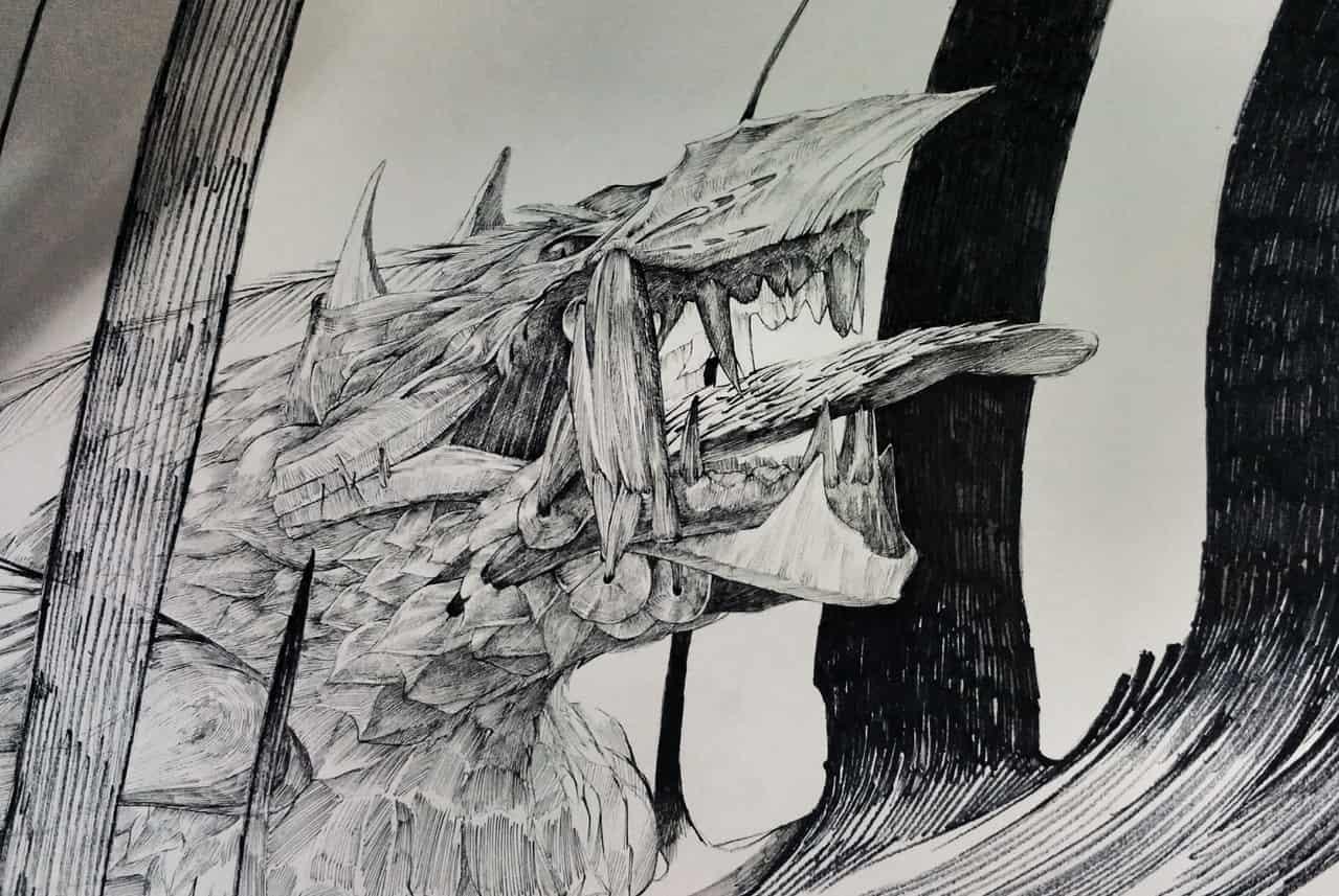无题 Illust of Umekawa handdrawn アナログ 针管笔 dragon