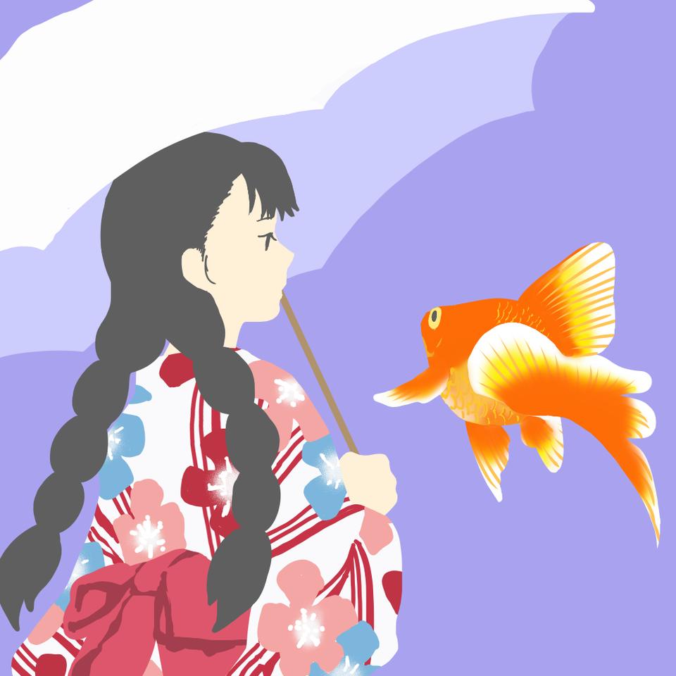 夏祭り Illust of 大森喜悦 レッツワンドロ girl goldfish
