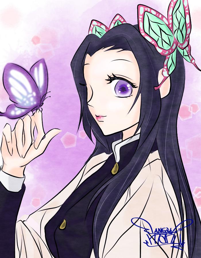 鬼滅の刃 カナエchan♪(kanae♪) Illust of Manu cute girl イケ女 KimetsunoYaiba kawaii pink KochoKanae purple
