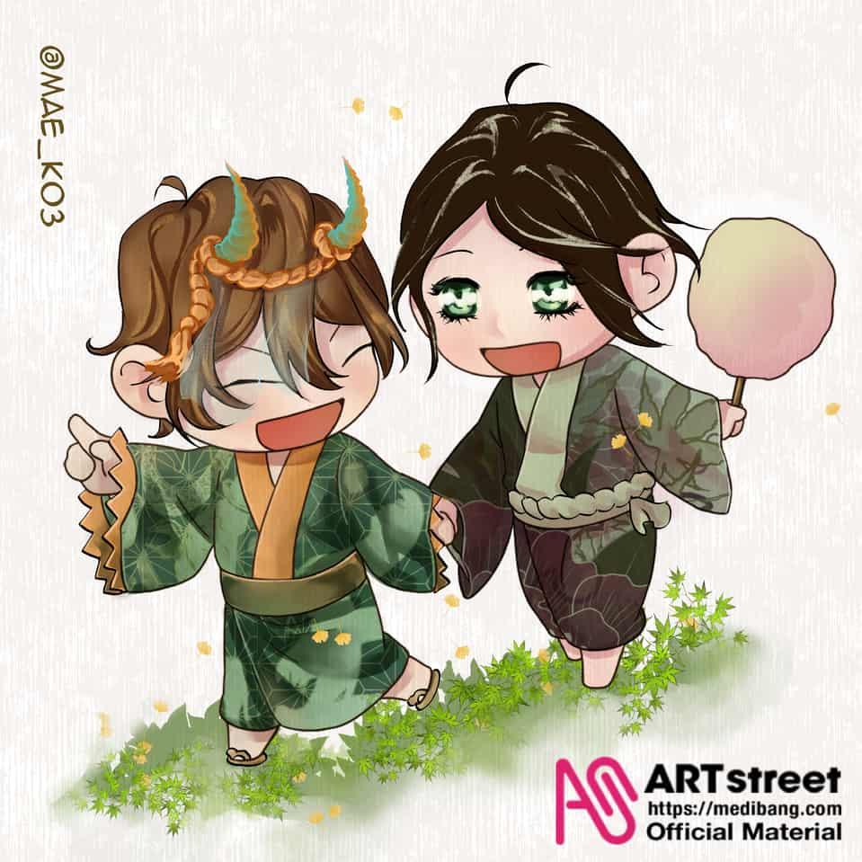 Let's visit a festival!~ Illust of mae_ko3 tracedrawing4th Trace&Draw【Official】 Fingerpaint chibi kimono yokai couple cute original horns