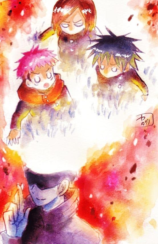 めらめら Illust of どべび JujutsuKaisenFanartContest 水彩色鉛筆 AnalogDrawing fanfic JujutsuKaisen アナログ